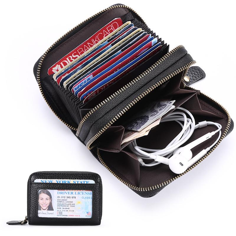 Women's Genuine Leather Short Zipper Card Purse Wallet