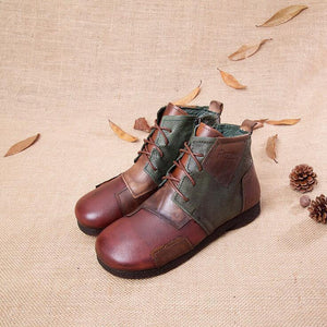 Women Retro Handmade Genuine Leather Ankle Boots