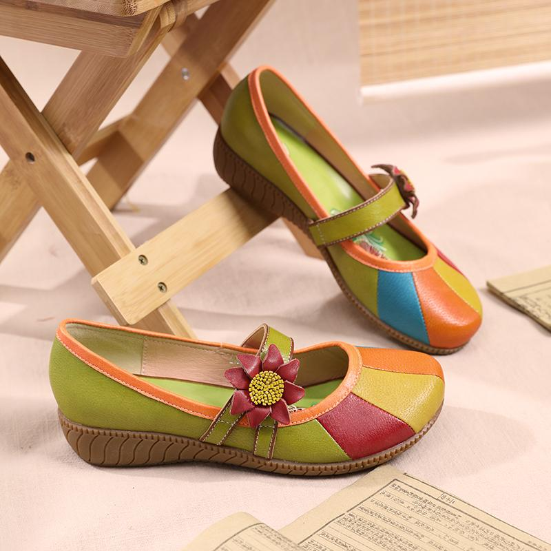 Women's Retro Color Matching Buckle Shoes