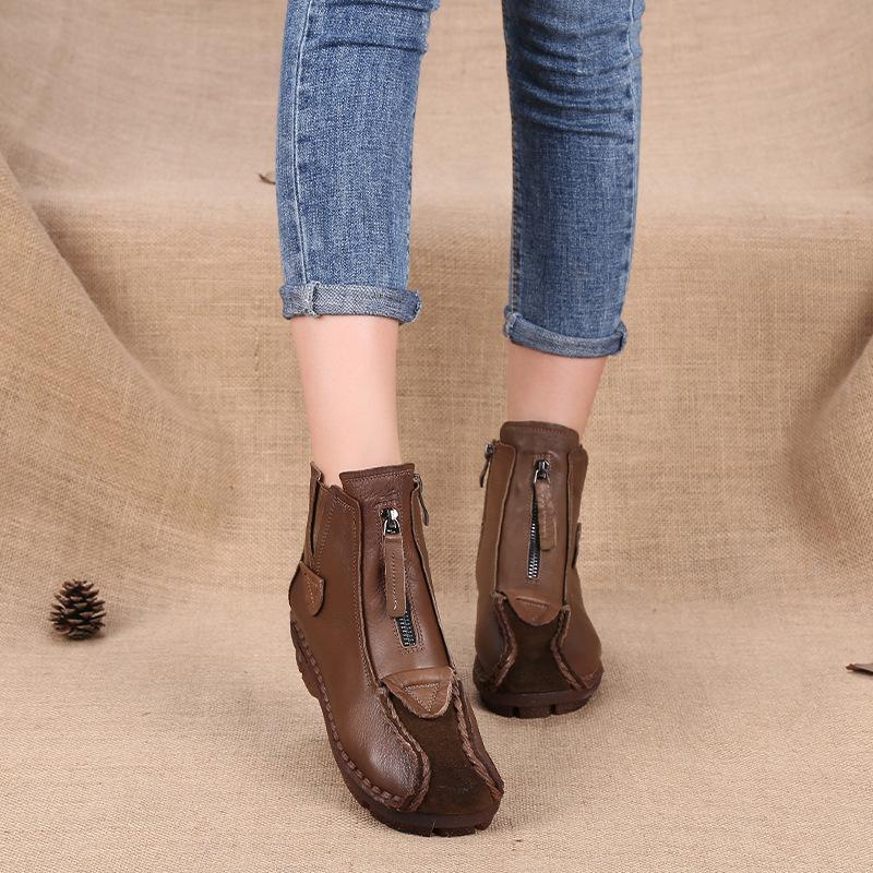 Women Genuine Leather Handmade Velvet Soft Flat Ankle Boots