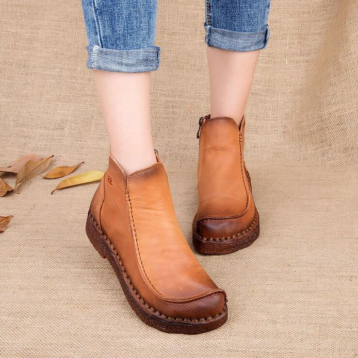 Women Genuine Leather Retro Casual Flats Ankle Boots