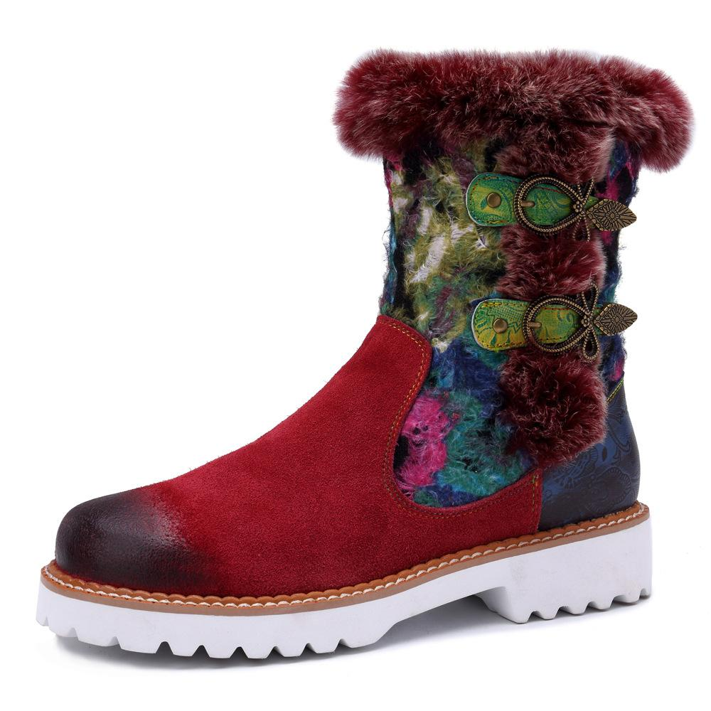 Women 's Vintage Casual Genuine Leather Ethnic Style Warm Boots
