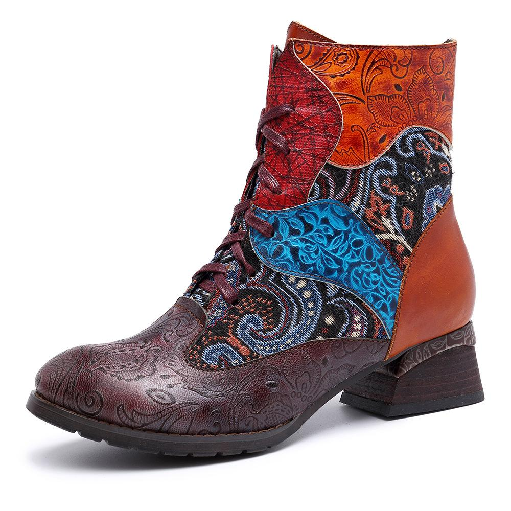 Women's Ethnic Print Stitching Handmade Genuine Leather Boots