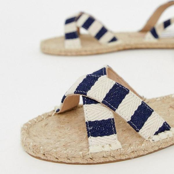 Women's Stylish Striped Strap Woven Flat Sandals