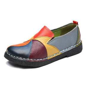 Handmade Splicing Leather Soft Flat Loafers