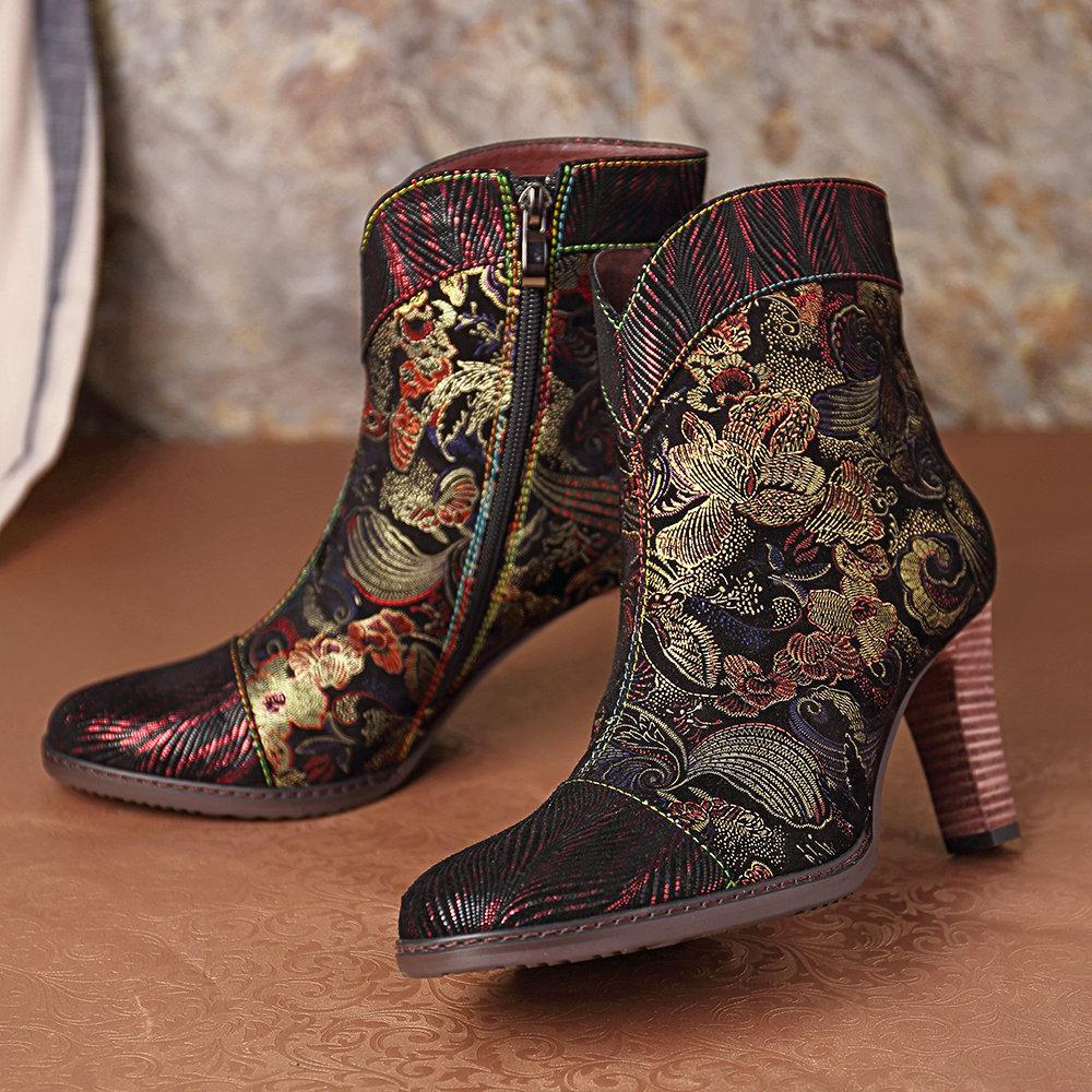 Embossed Leather Splicing Pattern Stitching Zipper High Heel Ankle Boots
