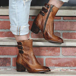 Women's Size Zipper Winter Chunky Heel Boots