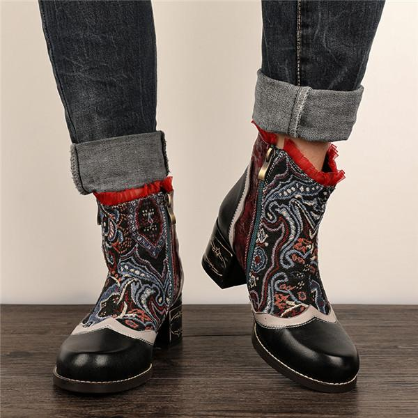 Women's Bohemia Zipper Boots Lace Trim Block Heel Shoes
