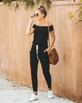 Drawstring Boat Neck Jumpsuit With Pockets