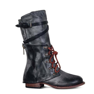 Retro Lace-up Adjustable Buckle Faux Leather Low Heel Boots