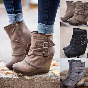 Women Double Breasted Zipper Ankle High Thick Heels Booties Plus Size Shoes