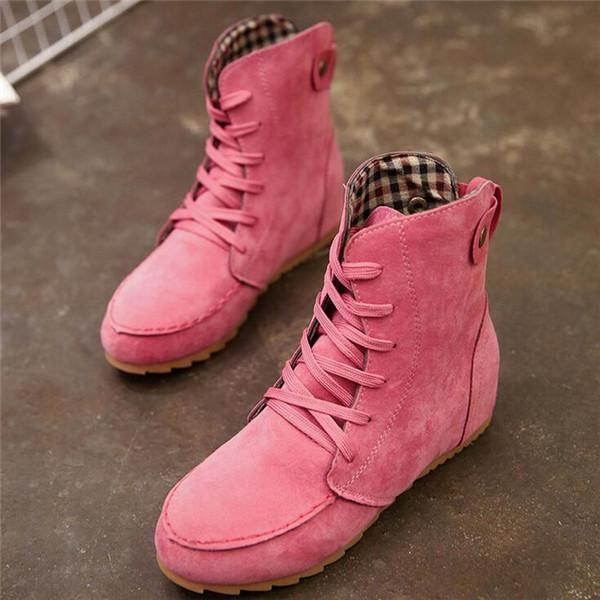 Women Suede Leather Lace-Up Large Size  Martin Boots