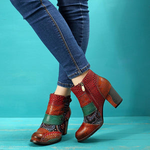 Retro Buckle Genuine Leather Splicing Zipper Splicing Ankle Square Heel Boots