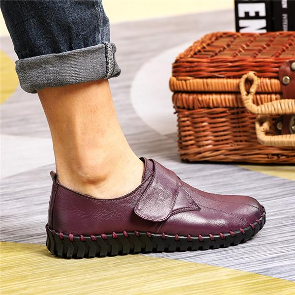 c380edaa41f6 Women s Vintage Casual Pure Color Comfort Leather Flat Shoes – fayfio