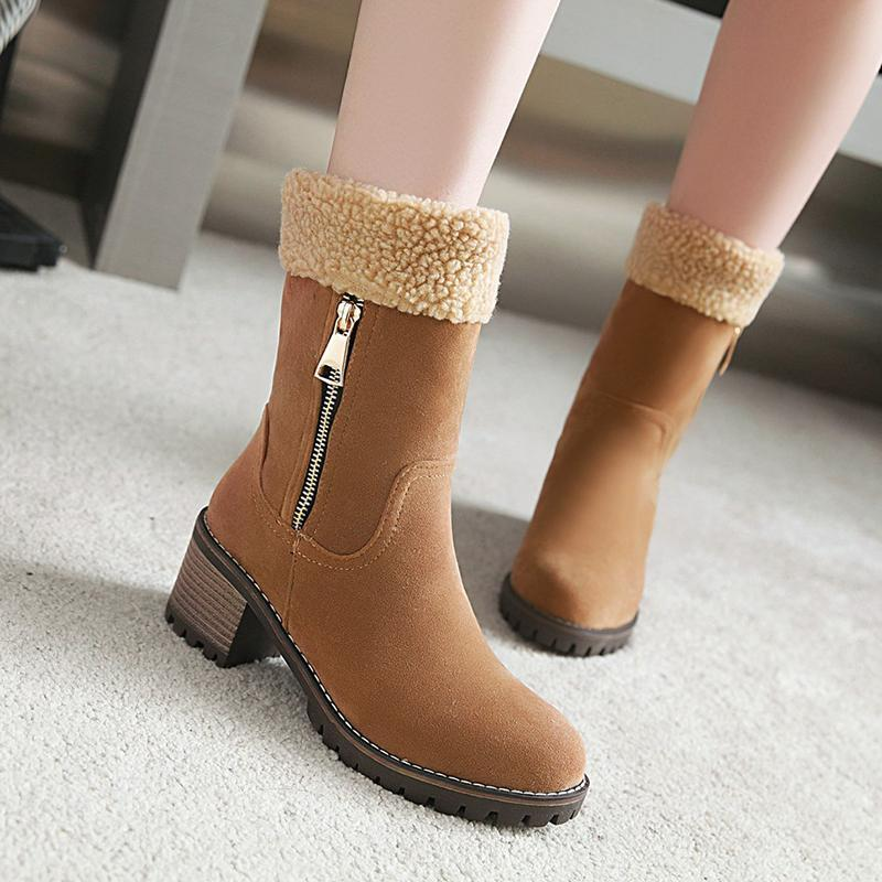 Women  Square Heels  Snow Boots