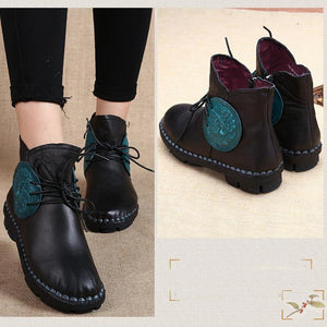 Leather Round Head Lace-Up Retro Boots