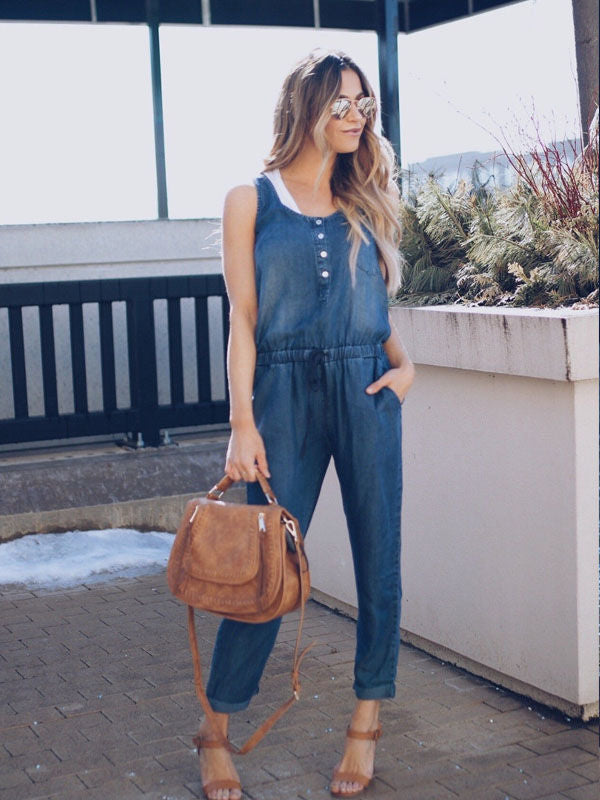 Women's Loose Baggy Denim Drop Crotch Bib Overalls Jumpsuit Romper