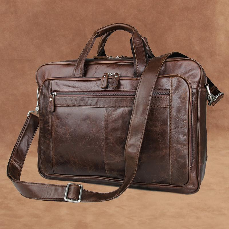 Men Portable Genuine Leather Briefcase