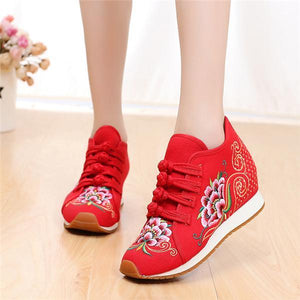Spring and Summer Embroidered Wedges Sports Shoes