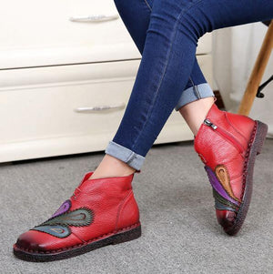 Retro Handmade Wings Pattern Flat Ankle Leather Boots