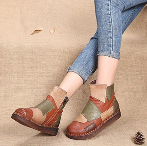 Women Fashion Design Mixed Color Retro Casual Boots(Purple Out Of Stock)