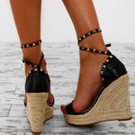Women's Fashion Rivet Wedge Heel Sandals Black Ankle Strap Open-toed Sandals
