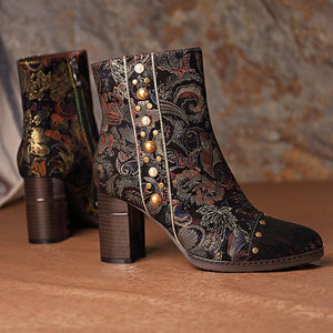 Embossed Leather Stitching Splicing Pattern Zipper High Heel Ankle Boots