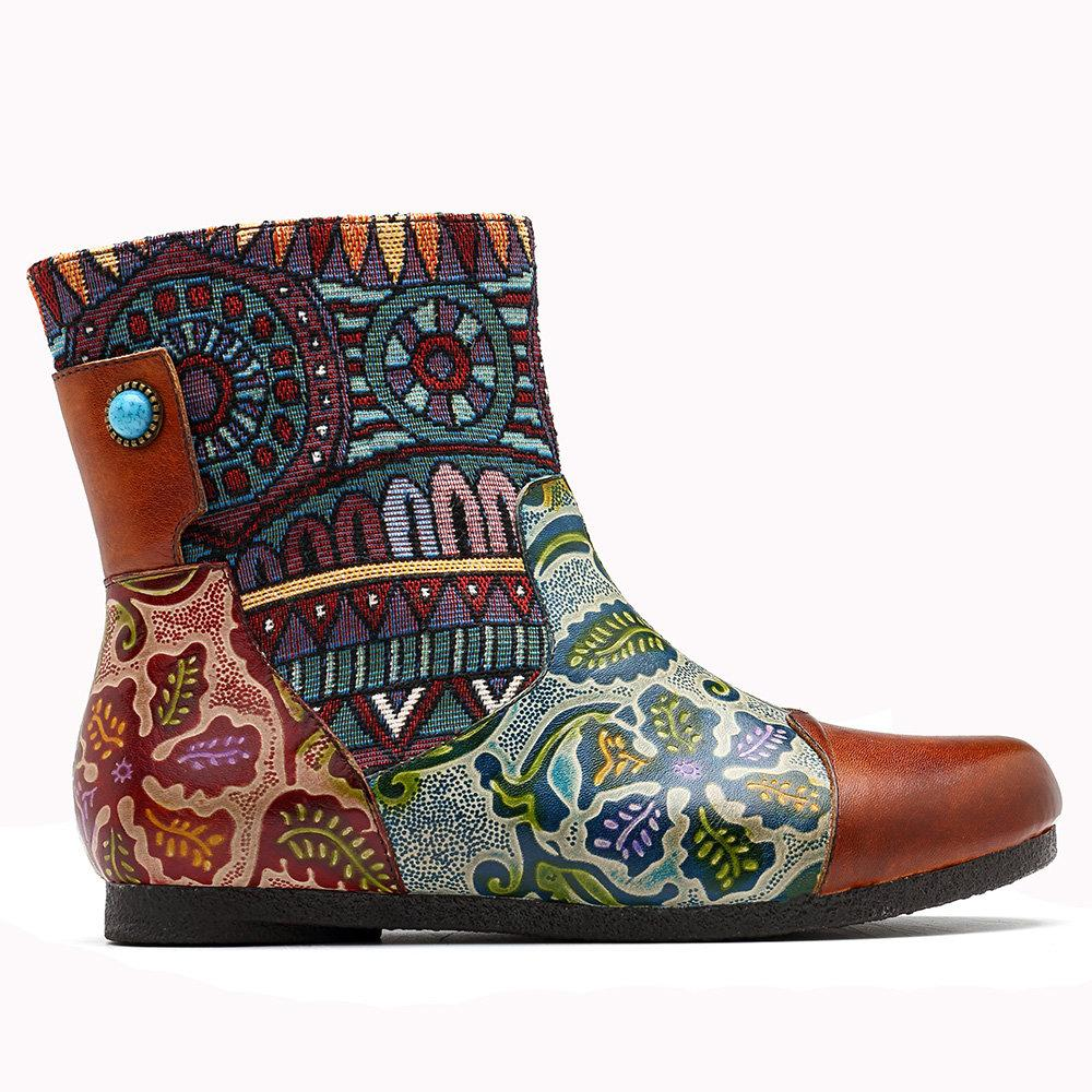 Casual Kaleidoscope Floral Genuine Leather Splicing Comfortable Zipper Flat Boots