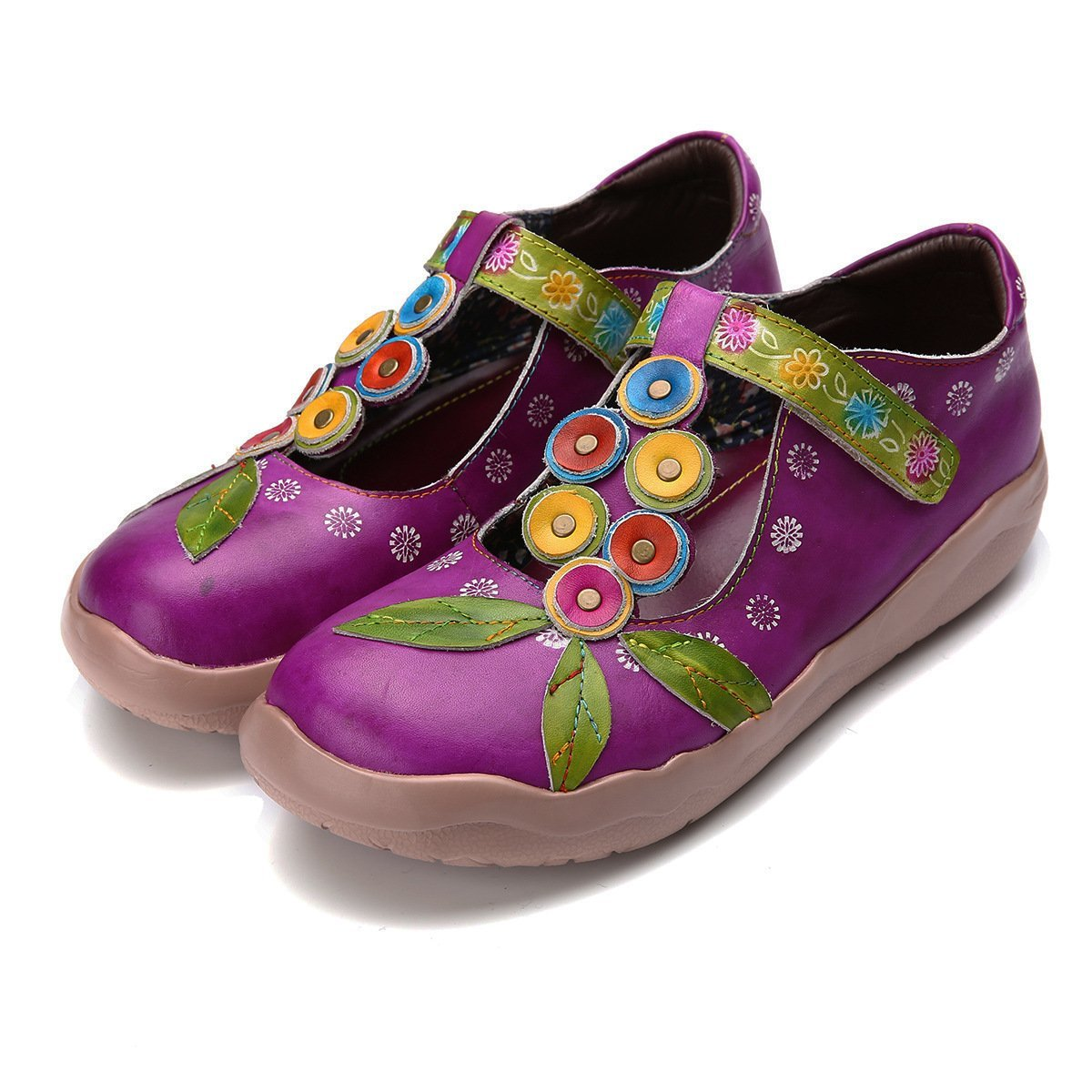Women Leather Handmade Vintage Printed Flat Shoes