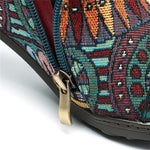 Bohemian Splicing Pattern Button Zipper Ankle Leather Boots