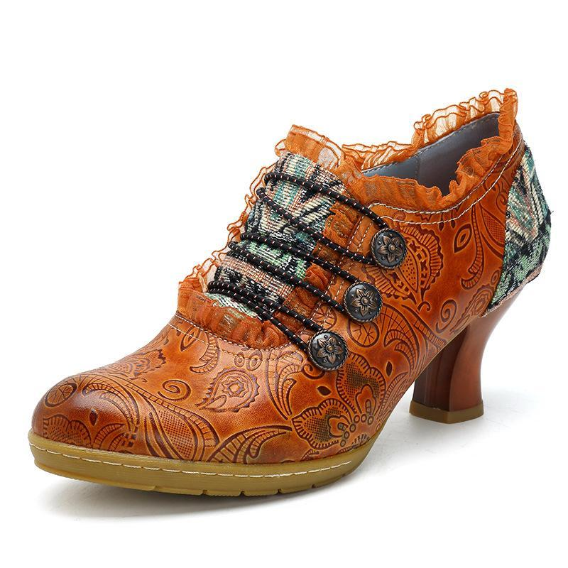 Women Retro Classic Buckle Printing Splicing Mid Heel Leather Shoes