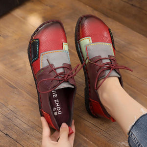 Coloured  Patchwork  Lace-Up Women's Shoes