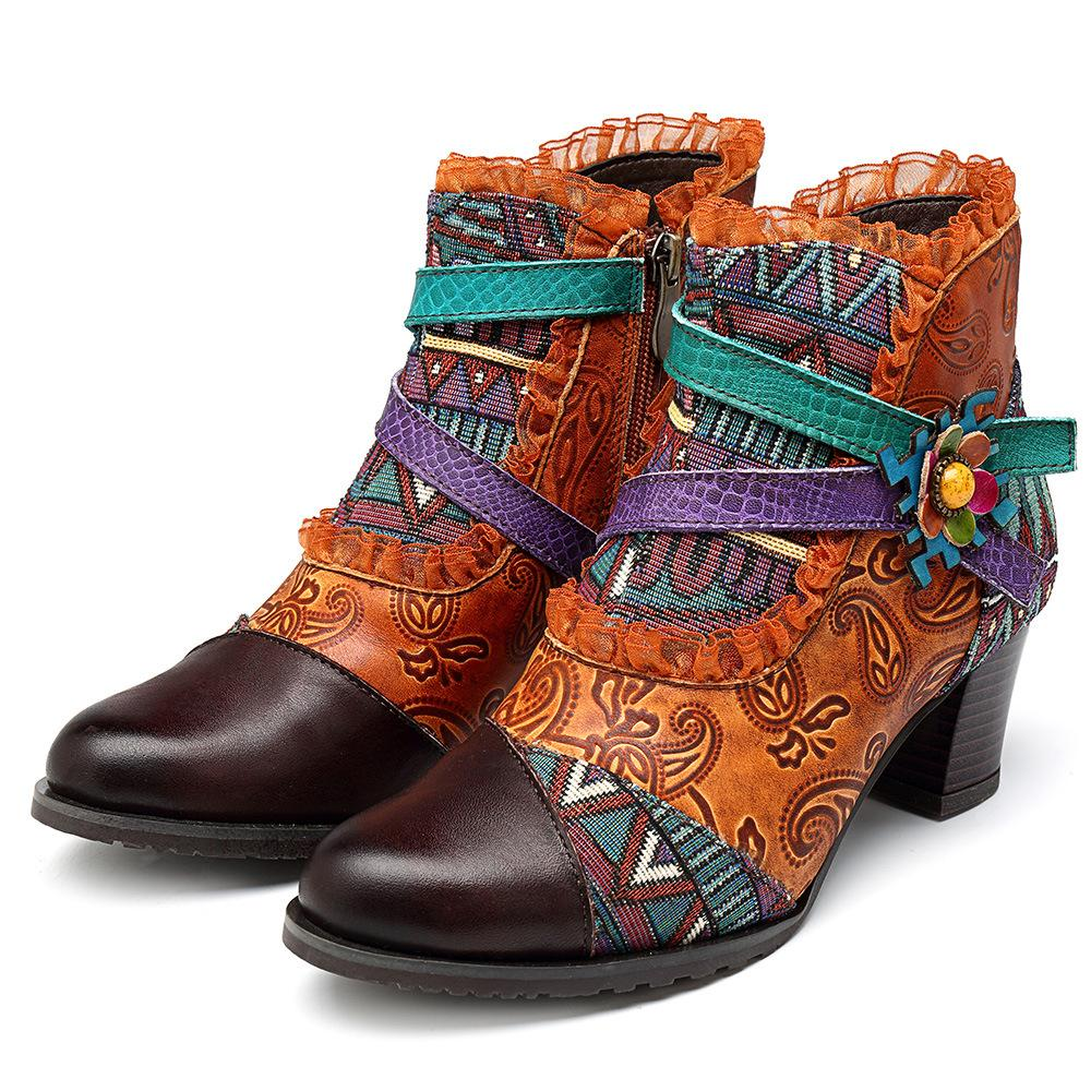 Forest Lace Splicing Retro Pattern Genuine Leather Zipper Comfortable Boots
