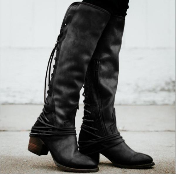 Womens Laced-up Knee High Riding Boots Side Zipper Chunky Low Heel Faux Leather Shoes