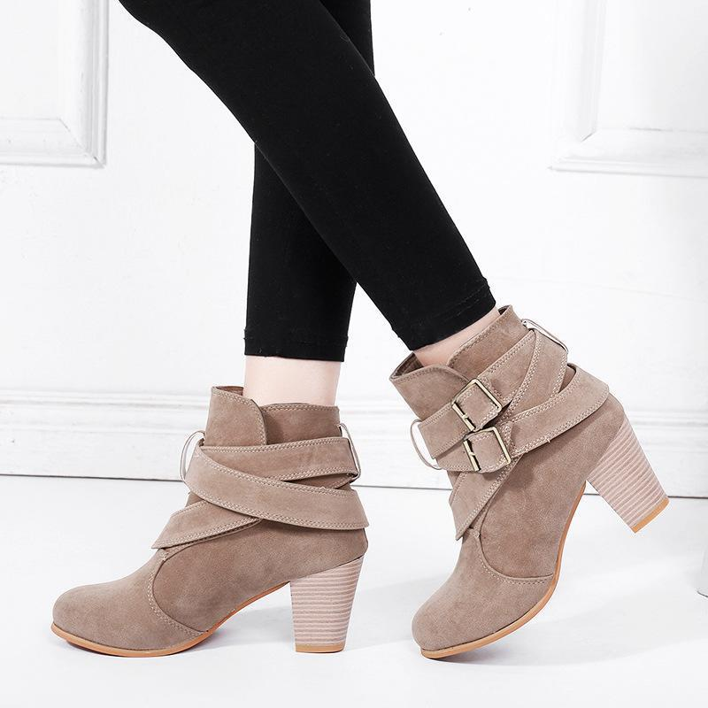 Fall Winter Cute Round Head Buckle Boots