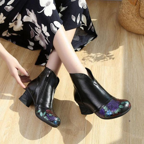 Ethnic Style Thick Ankle Boots