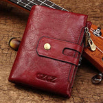 Women Genuine Leather Bifold Small Wallet