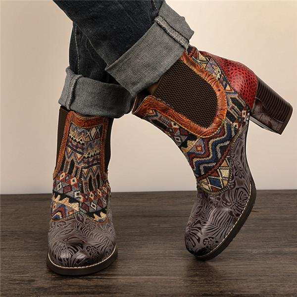 Vintage Ethnic Style Color Matching High Heel Boots