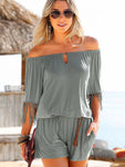 Tassel Short Jumpsuit Off The Shoulder Romper Swim Cover Up