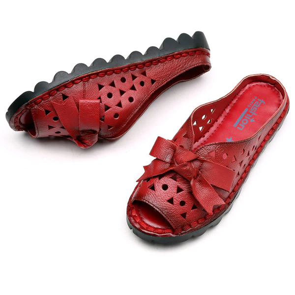 Bowknot Leather Hollow Out Vintage Peep Toe Slippers