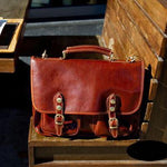 Men Genuine Leather Messenger Bags Briefcase