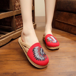 Embroidery Pattern National Wind Vintage Slip On Flat Slippers
