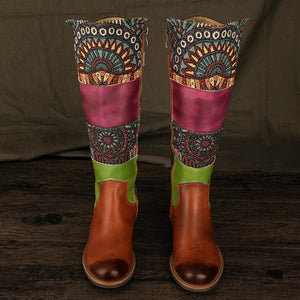 Ethnic Retro Zipper Leather Upper Knee Boot Stylised Superb Stitching Boots