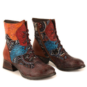 Retro Zipper Lace-Up Stitching Color Boots