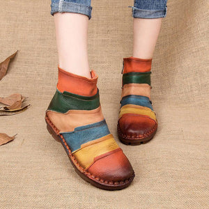Genuine Leather Round Toe Retro Handmade Ankle Flat Boots
