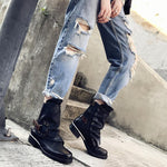Women Real Leather Belt Martin Ankle Boots