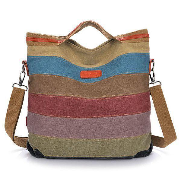 Women Canvas Striped Contrast Color Canvas Tote Crossbody Bags