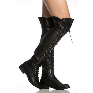 Knee High Cross Lace-up Brwon Boots