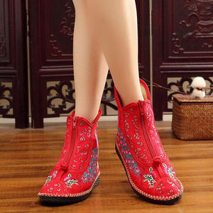 Ethnic Style Embroidery Lace Boots