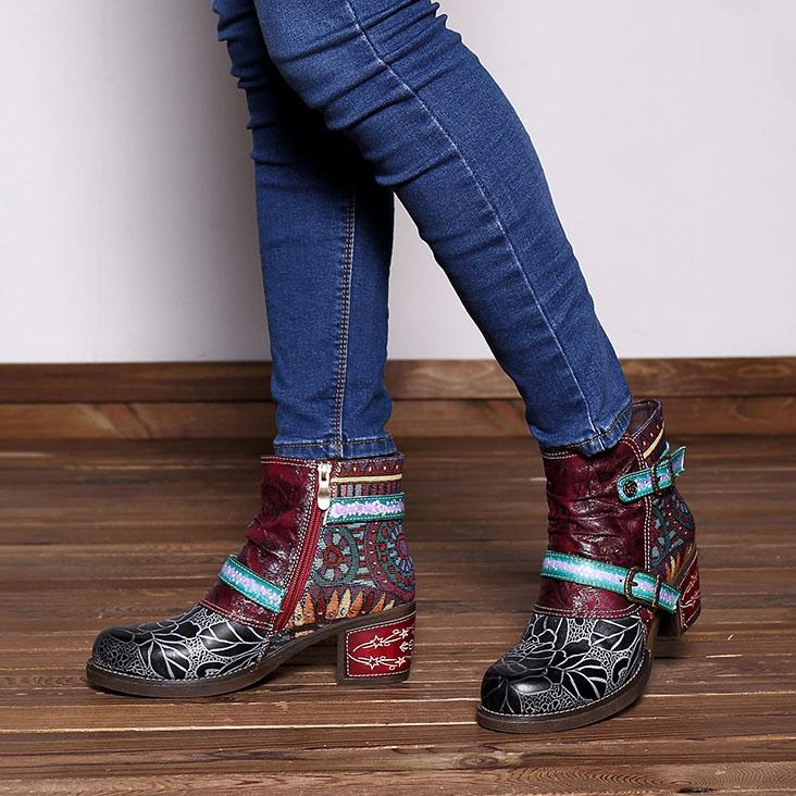 Women's Genuine Leather Comfy Casual  Stripe Splicing Zipper Boots